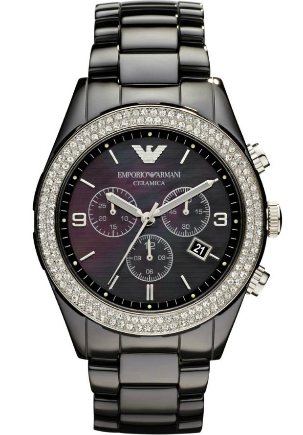 Керамические Часы Женские Emporio Armani AR1455 Черные Большие