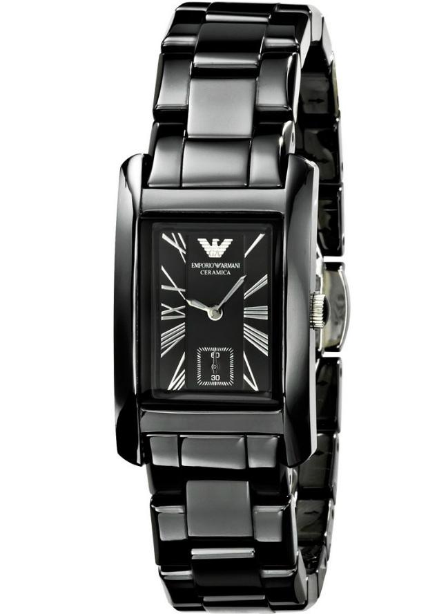 Керамические Часы Armani Женские AR1407 Прямоугольные Черные
