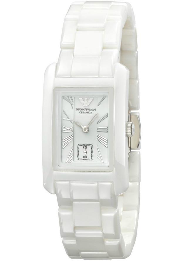 Часы Керамика Emporio Armani Белые Женские AR1409 Прямоугольные