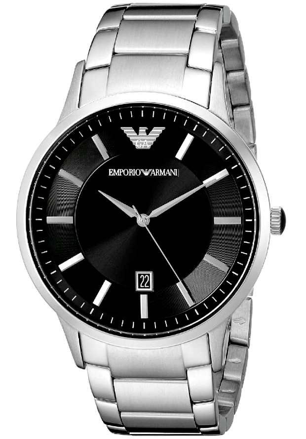 Стальные Часы Armani Мужские AR2457 с черным циферблатом