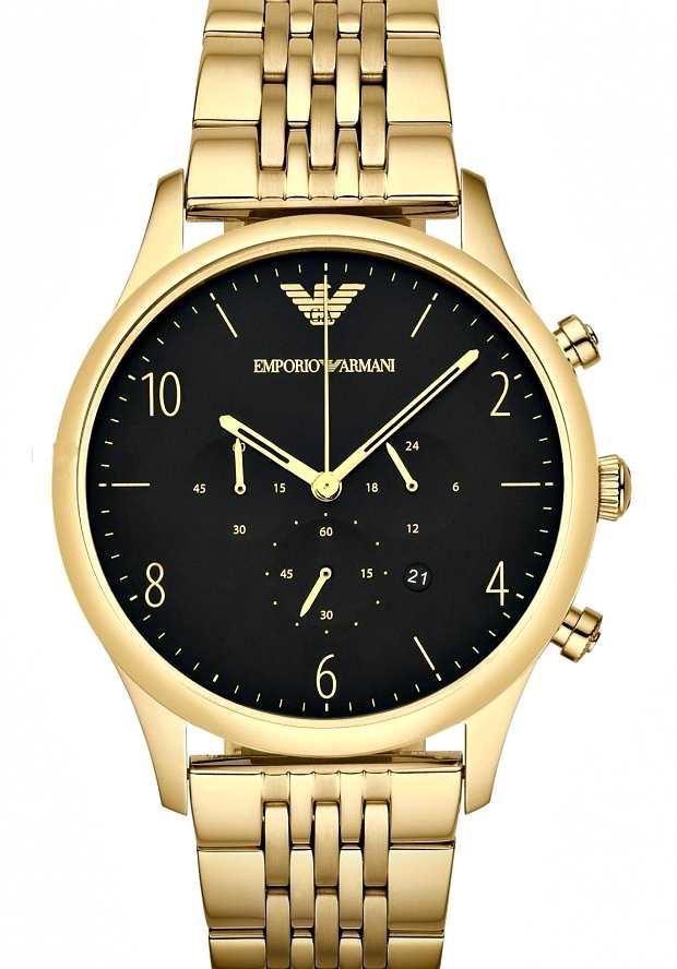 Золотые Часы Мужские Emporio Armani AR1893 с черным циферблатом