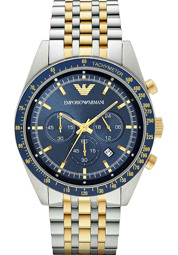 Итальянские Часы Emporio Armani Мужские AR6088 с синим циферблатом