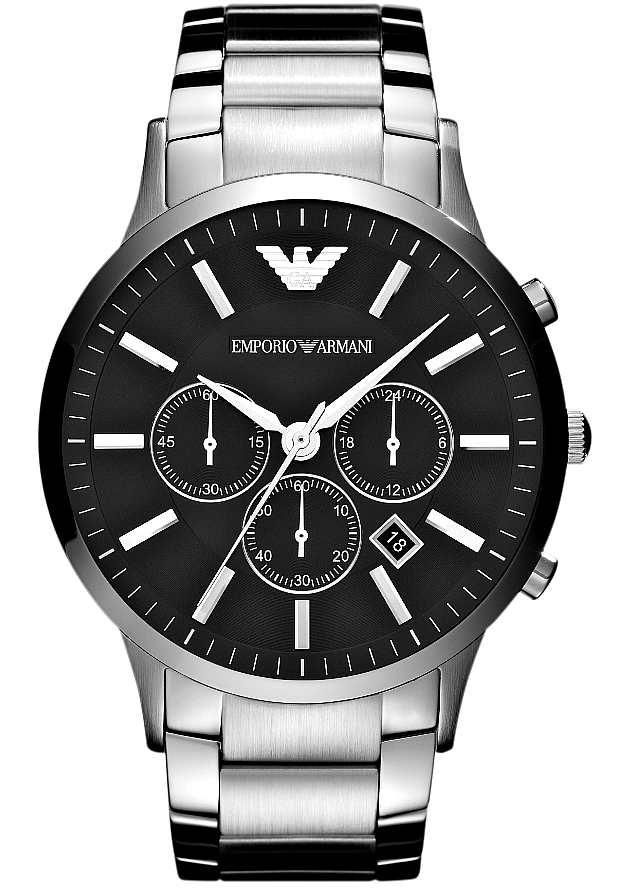 Мужские Часы Emporio Armani Серебристые AR2460 с черным циферблатом