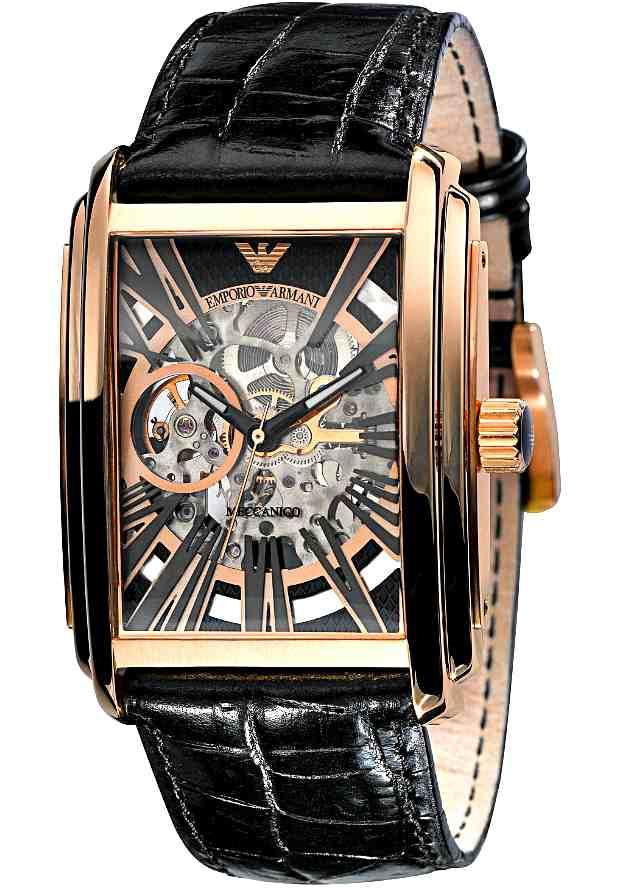 Механические Часы Armani Мужские Золотистые Скелетоны AR4233