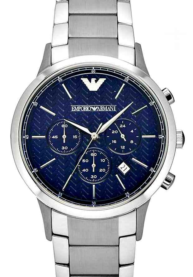 Часы Мужские Emporio Armani Серебристые AR2486 с синим циферблатом