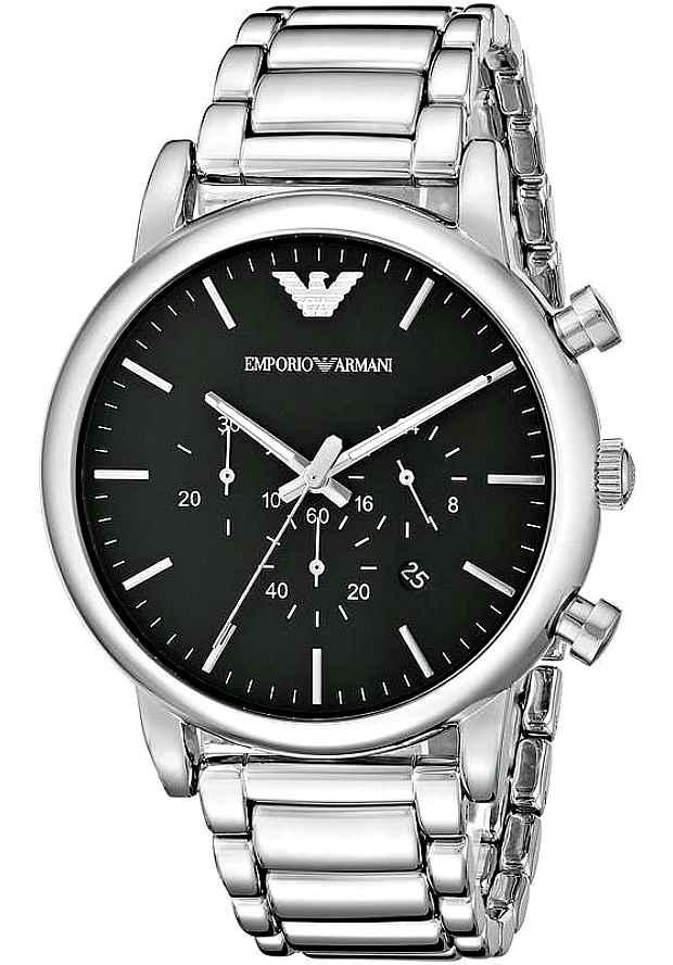 Наручные Часы Emporio Armani Серебристые AR1894 с черным циферблатом
