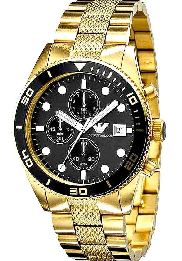 Часы Мужские Armani Золотые AR5857 Хронограф